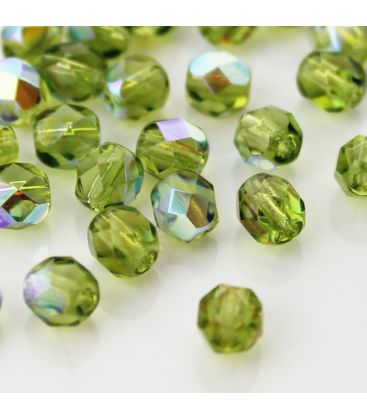 Fire Polish 6mm (loose) Olivine AB - 60szt