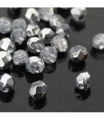 Fire Polish 6mm (loose) Coated 1/2 Silver - 60szt