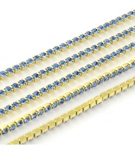 Łańcuszek z cyrkoniami 2x2mm - 50cm
