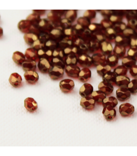 Fire Polish 3mm Siam Ruby/Bronze - 180szt