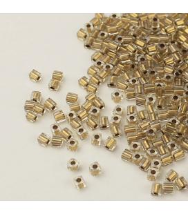 Miyuki Cubes 3 mm - Metalic Gold Lined Crystal -10g