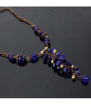 Naszyjnik ze szklanych koralików w kobaltowo-miedzianych barwach