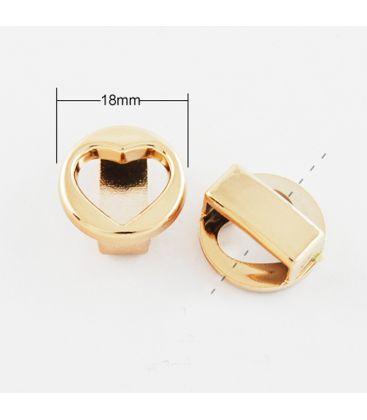 Przekładki akrylowe w kolorze złotym - SERCE - 18mm - 10szt
