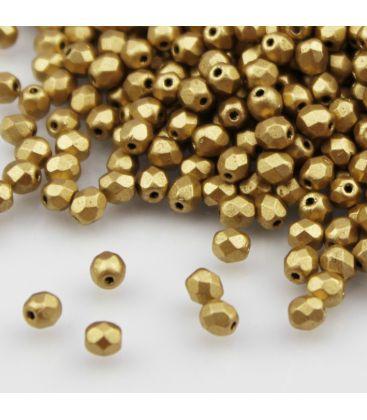 Beads Fire Polish 4 mm Matte Metallic Flax