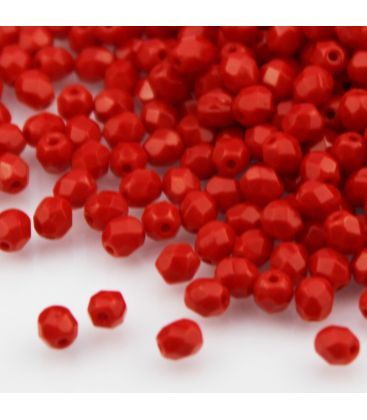 Beads Fire Polish 4 mm Opaque Red