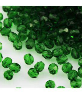 Бусины граненые Fire Polish 4мм Green Emerald - 120шт