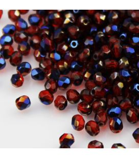 Бусины граненые Fire Polish 4мм Blue Iris Siam Ruby - 120шт
