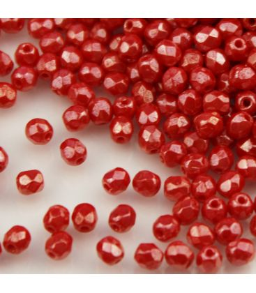 Beads Fire Polish 4 mm Luster Opaque Lt. Red