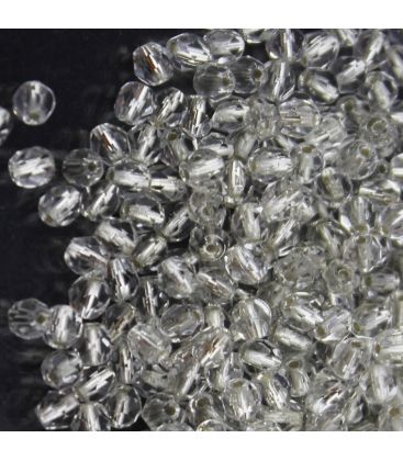 Beads Fire Polish 4 mm Silver Lined Crystal