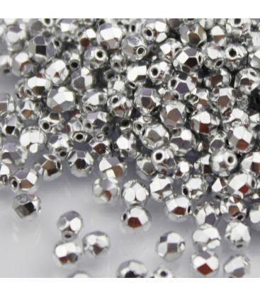 Beads Fire Polish 4 mm Silver