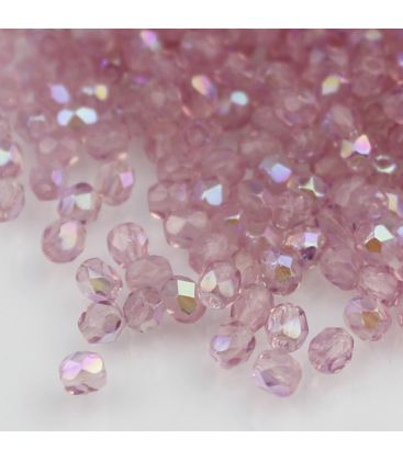 Beads Fire Polish 4 mm Milky Pink AB
