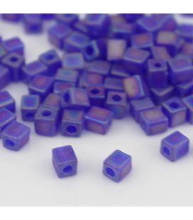 Miyuki Squares 4mm Matte Trans Cobalt AB - 10g