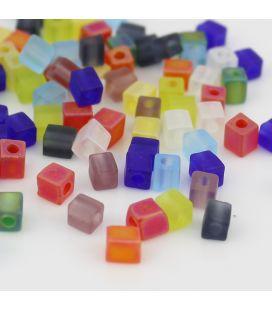 Miyuki Squares 4mm MIX Trans Matte Rainbow -10g