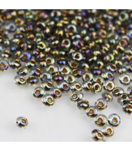TOHO Magatama 3mm Gold-Lined Rainbow Black Diamond