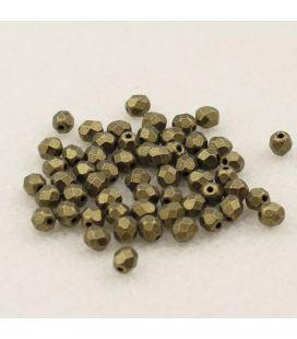 Бусины граненые Fire Polish 4мм Metallic Suede Gold - 120шт