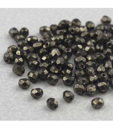 Beads Fire Polish 4 mm Coated Metallic Antic Platinum