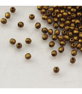 Fire Polish 2mm Matte Brass Gold - 2g