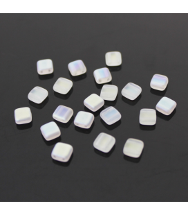 CzechMates Tile Bead 6mm Matte Crystal AB - 60szt