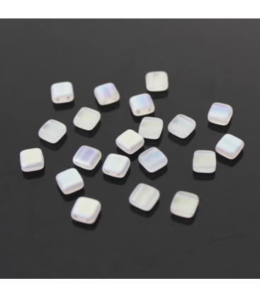 CzechMates Tile Bead 6mm (loose) Matte Crystal AB - 60szt