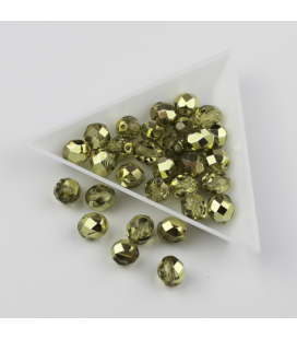 Fire Polish 8mm Coated Crystal Half Metal - 30szt
