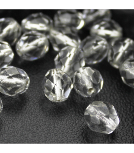 Fire Polish 8mm (loose) Silver Lined Crystal - 30szt