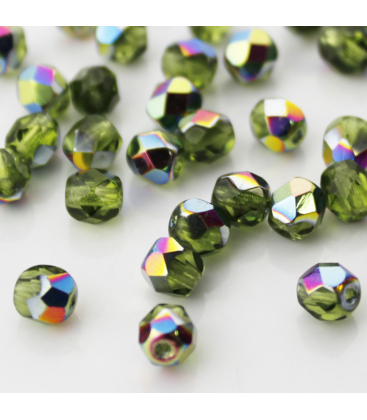 Fire Polish 6mm (loose) Vitral Lt Olivine - 60szt