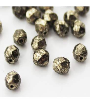 Fire Polish 6mm (loose) Coated Metallic Antic Platinum - 60szt