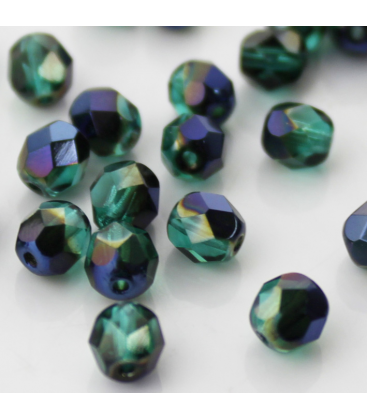 Fire Polish 6mm  Blue Iris Emerald