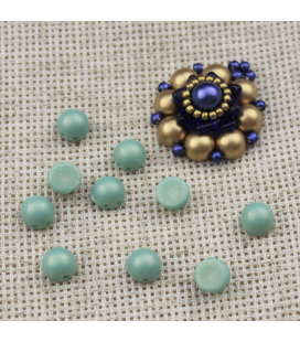 CzechMates Cabochon 7mm (loose) ColorTrends: Sueded Gold Turquoise - 10szt