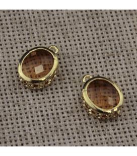 Szklany koralik w metalowej oprawie 12x18mm - 1szt