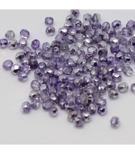 Fire Polish 3mm Coated 1/2 Silver/Violet - 180szt
