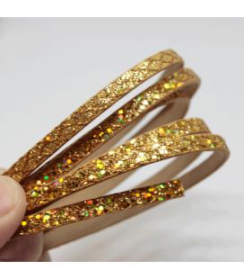 Rzemień płaski, wężowe romby miodowe złoto 5mm - 1,2m